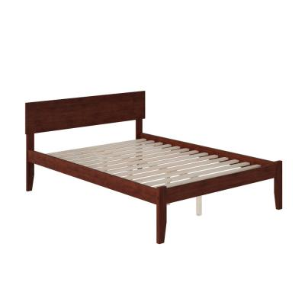 Orlando Walnut Full Platform Bed with Open Foot Board