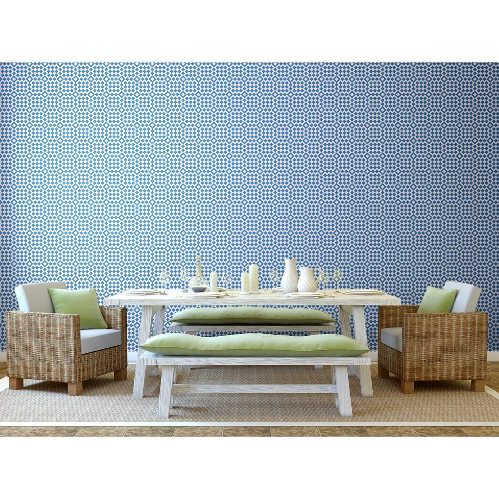 Art in Chaos Collection Turkish Bath in Coastal Blue Premium Matte Wallpaper