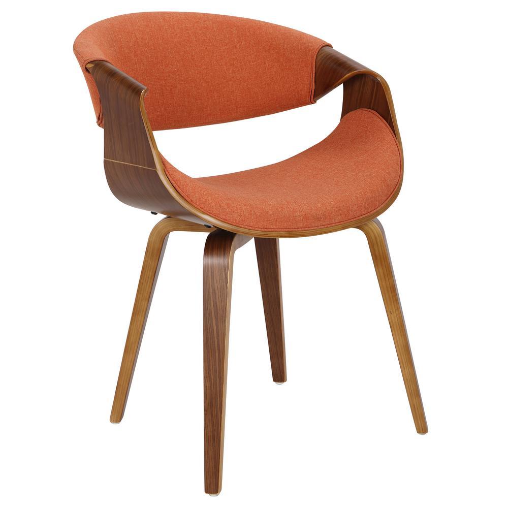 Curvo Bent Wood Walnut and Orange Dining/Accent Chair