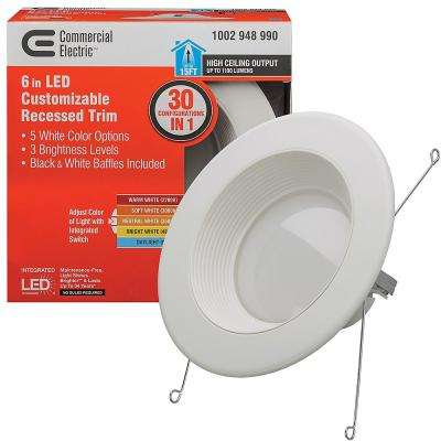 6 in. Selectable Integrated LED Recessed Trim Downlight 30 Configurations in One Fixture High Ceiling Output Dimmable