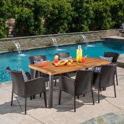 Denaya Natural Stained with Rustic Metal and Multi Brown 7-Piece Wood and Wicker Outdoor Dining Set