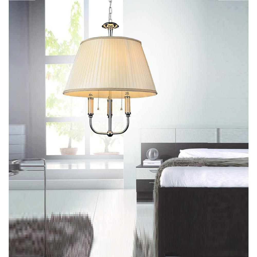 Adore 2-Light Chrome Chandelier with Off White Shade