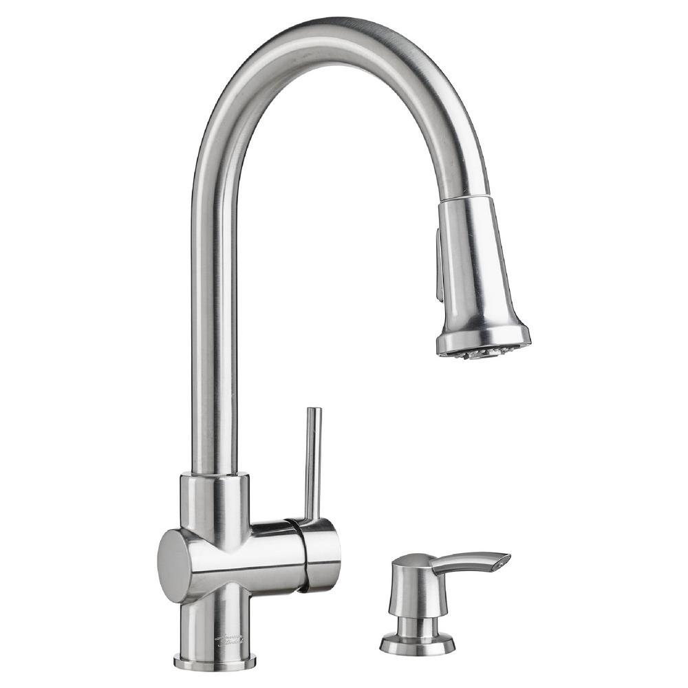 American Standard Montvale Single Handle Pull Down Sprayer Kitchen Faucet With Soap Dispenser In Stainless Steel 9379315 075 The Home Depot