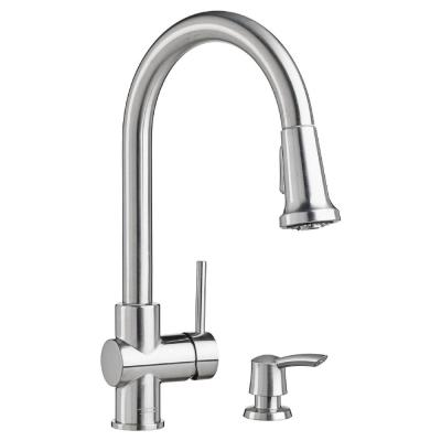 Montvale Single-Handle Pull-Down Sprayer Kitchen Faucet with Soap Dispenser in Stainless Steel