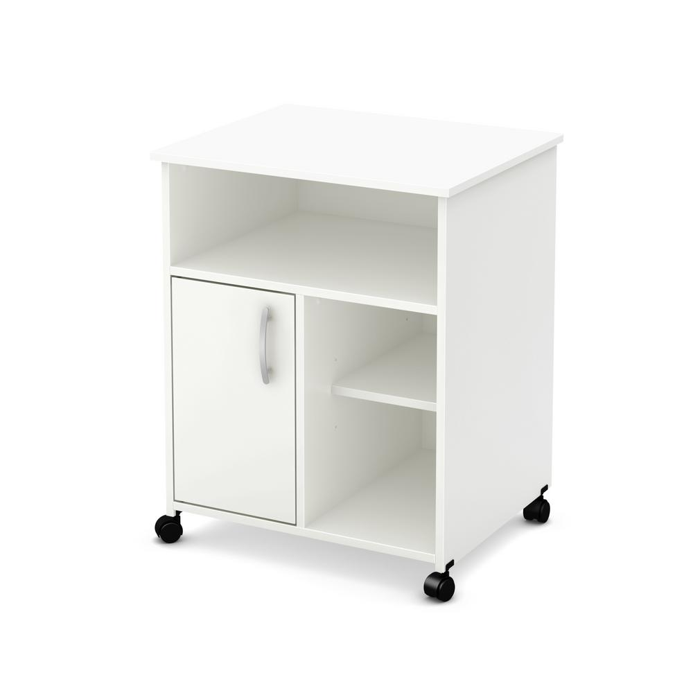 South S As Microwave Cart With Storage On Wheels Pure White