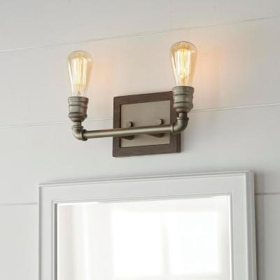 Palermo Grove 2-light Antique Nickel Bath Light with Painted Weathered Gray Wood Accents