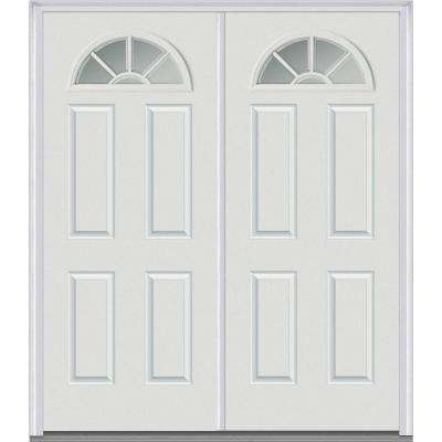 60 in. x 80 in. White Internal Grilles Right-Hand Inswing Fan Lite Clear Painted Fiberglass Smooth Prehung Front Door