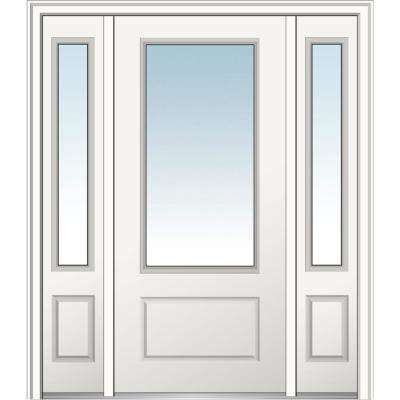 60 in. x 80 in. Classic Left-Hand Inswing 3/4-Lite Clear Primed Fiberglass Smooth Prehung Front Door with Sidelites