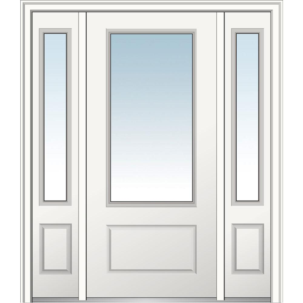 MMI Door 60 in. x 80 in. Classic Right-Hand Inswing 3/4-Lite Clear Primed Fiberglass Smooth Prehung Front Door with Sidelites