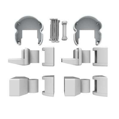 AVALON Aluminum Pellinore Angle Bracket Kit in White with 2 Top and 2 Bottom Brackets