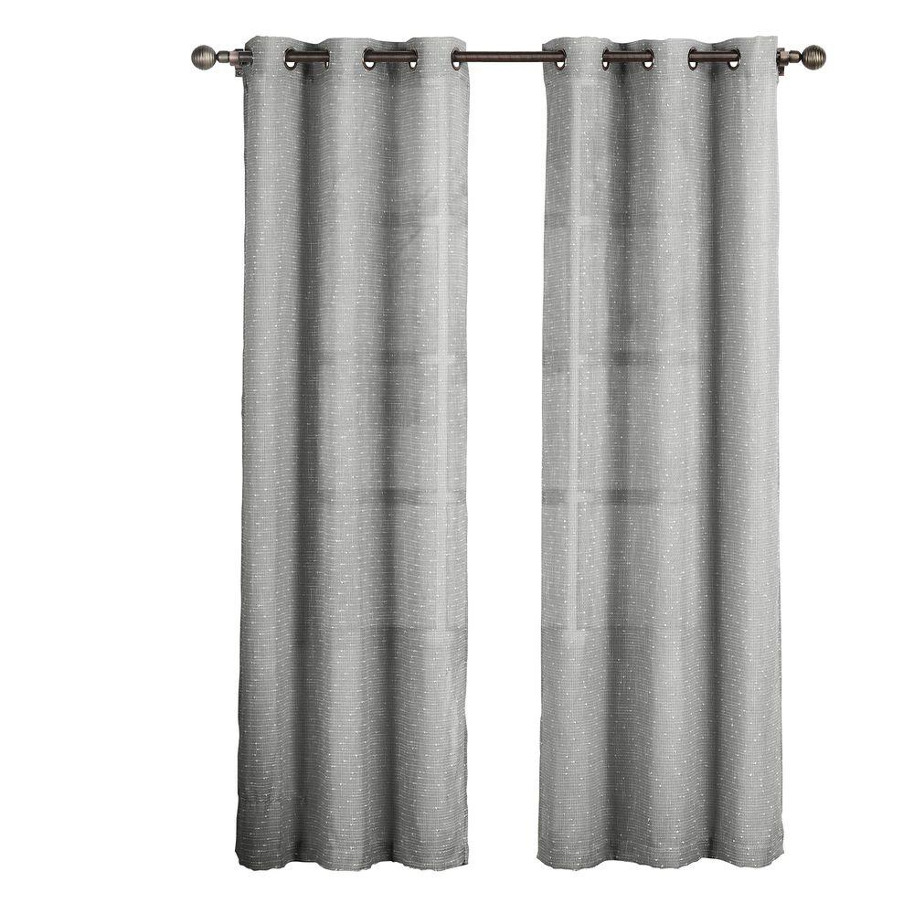 Creative Home Ideas Sheer Nubby Linen Blend 84 In L Grommet Curtain Panel Pair Charcoal Set Of 2