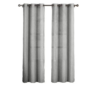 Creative Home Ideas Sheer Nubby Linen Blend Sheer 84 inch L Grommet Curtain Panel Pair, Charcoal (Set of 2) by Creative Home Ideas