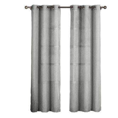 Sheer Nubby Linen Blend Sheer 84 in. L Grommet Curtain Panel Pair, Charcoal (Set of 2)