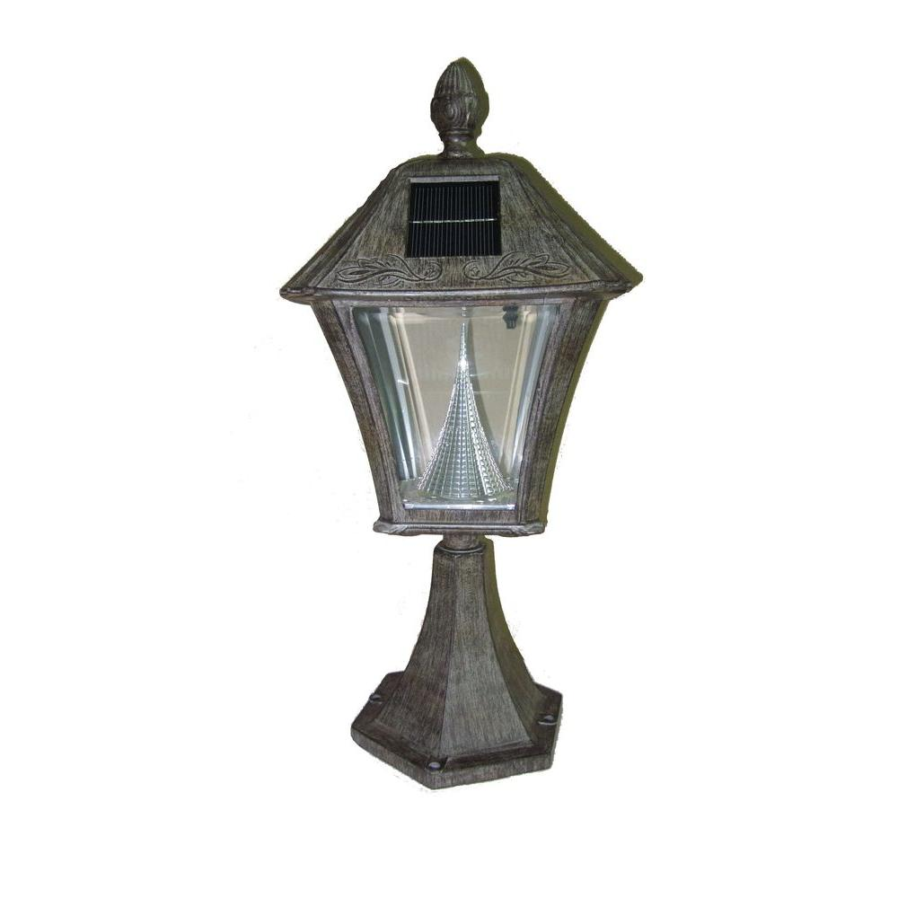 Gama Sonic Baytown 17 in. Solar Weathered Bronze Post Mount Lamp with 6-LED Bulbs