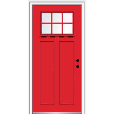 36 in.x80 in. Low-E Glass Left-Hand Craftsman 2-Panel 6-Lite Clear Painted Fiberglass Smooth Prehung Front Door w/ Shelf