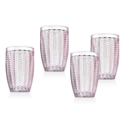Twill 15 oz. Pink Crystal High bal Glasses (Set of 4)