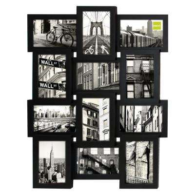 Array 17 in. x 23 in. 12-Opening 4 in. x 6 in. Collage Frame, Black