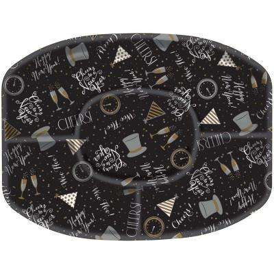New Year's 13.25 in. x 18.25 in. Black Sectional Platter (5-Pack)