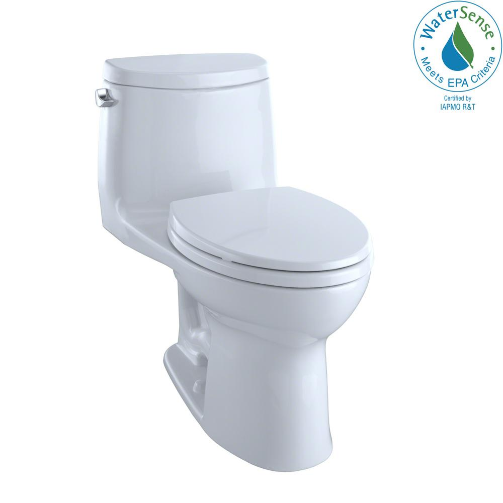 TOTO UltraMax II 1-Piece 1.28 GPF Single Flush Elongated Toilet with ...