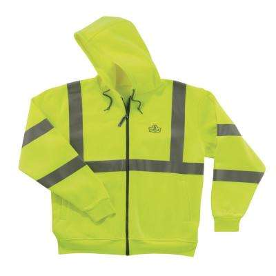 5XL Hi Vis Lime Zipper Hooded Sweatshirt