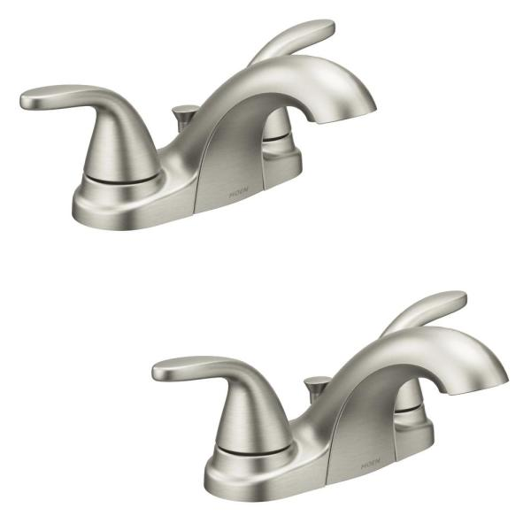 Adler 4 in. Centerset 2-Handle Bathroom Faucet in Spot Resist Brushed Nickel (2-Pack)