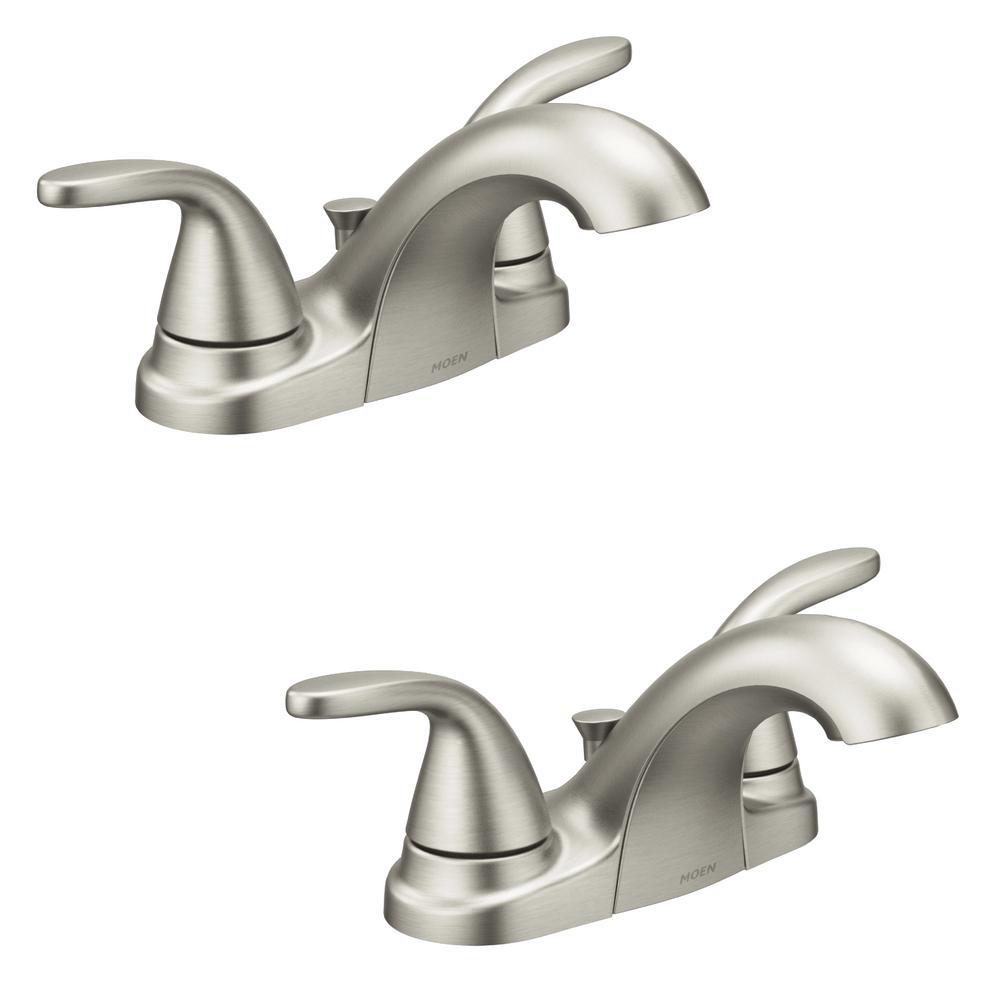 Adler 4 in. Centerset 2-Handle Bathroom Faucet in Spot Resist Brushed Nickel (2-Pack)