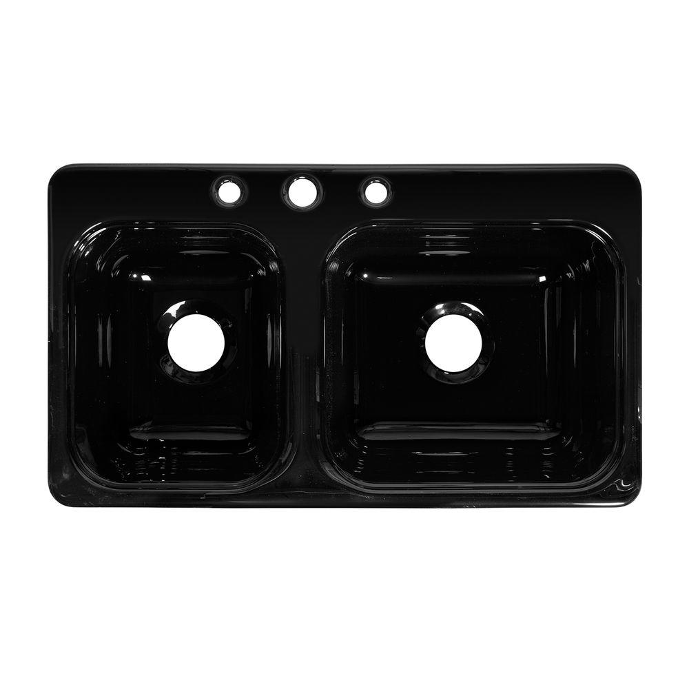 Lyons Industries Style CB Drop-In Acrylic 33x19x8 in. 3-Hole 40/60 Double Basin Kitchen Sink in Black