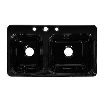 Style CB Drop-In Acrylic 33x19x8 in. 3-Hole 40/60 Double Bowl Kitchen Sink in Black