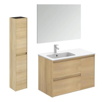 Ambra 35.6 in. W x 18.1 in. D x 22.3 in. H Bathroom Vanity Unit in Nordic Oak with Mirror and Column