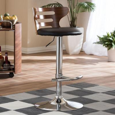 Buell Brown Wood and Black Faux Leather Adjustable Bar Stool