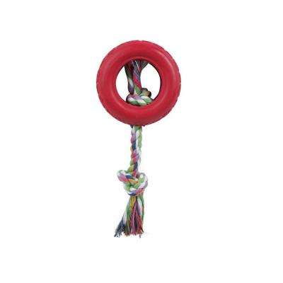 Rubberized Dog Chew Rope and Tire in Red