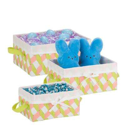 13 in. x 6 in. Pink, Green and White Nestable PP Weave Storage Baskets (3-Pack)