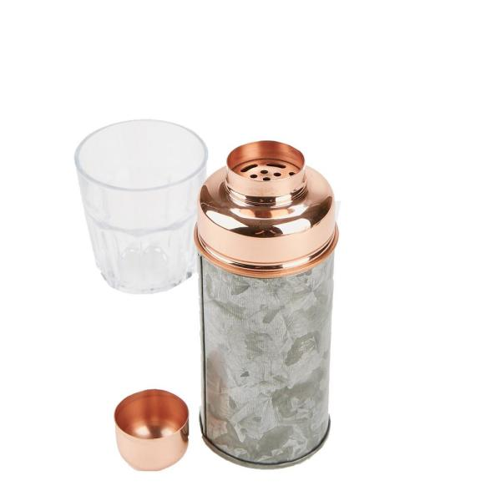 Mind Reader 18 oz. Silver Stylish Metal Cocktail Shaker for Home