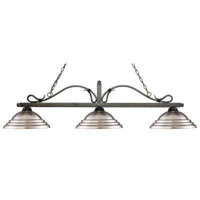 Morris 3-Light Golden Bronze Island Light with Brushed Nickel Shades