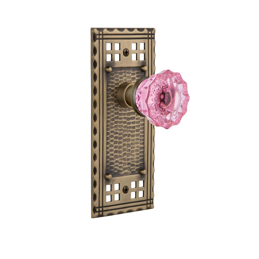 Nostalgic Warehouse Craftsman Plate Double Dummy Crystal Pink Glass Door  Knob In Antique Brass