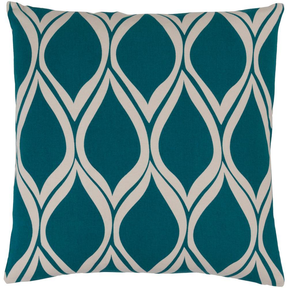 Tamerton Blue Geometric Polyester 22 in. x 22 in. Throw Pillow