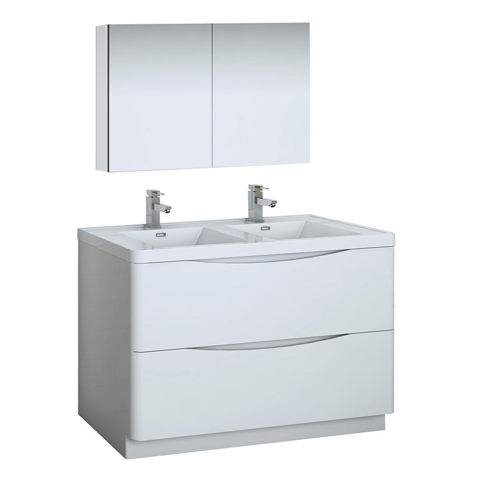Fresca Tuscany 48 In Modern Double Bathroom Vanity In Glossy White