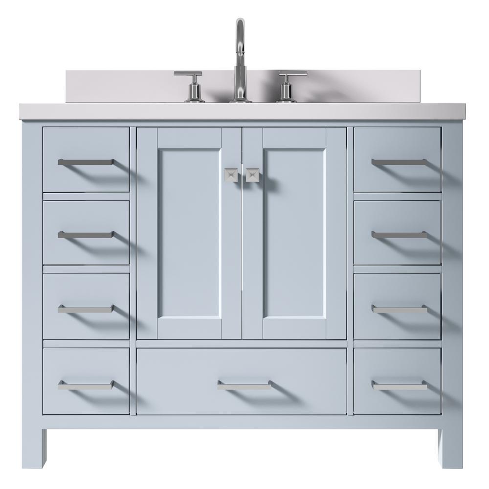 Cambridge 43 in. W x 22 in. D x 35 in. H Vanity in Grey with Quartz Vanity Top in White with Basin