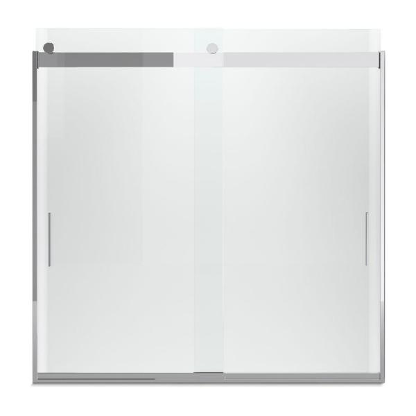 Levity 57 in. x 59.75 in. Semi-Frameless Sliding Tub Door in Silver frame with Handle