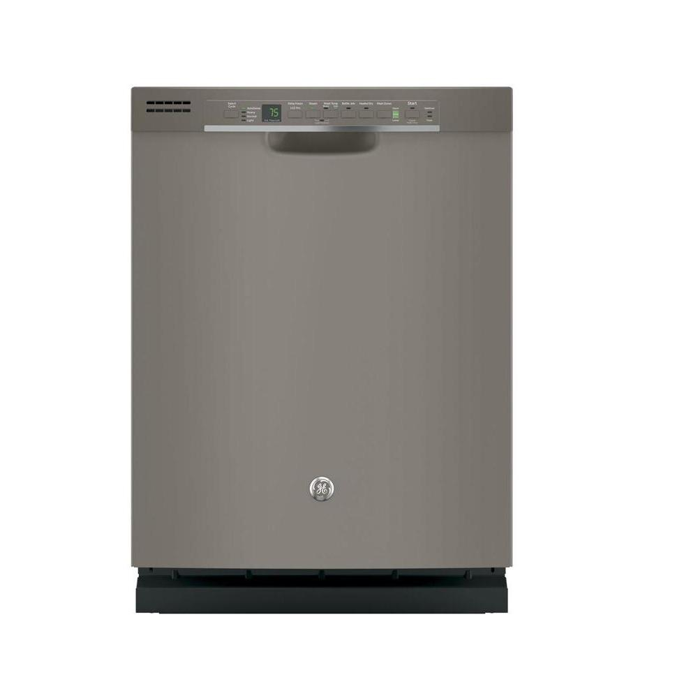GE Front Control Dishwasher in Slate (Grey) with Hybrid S...