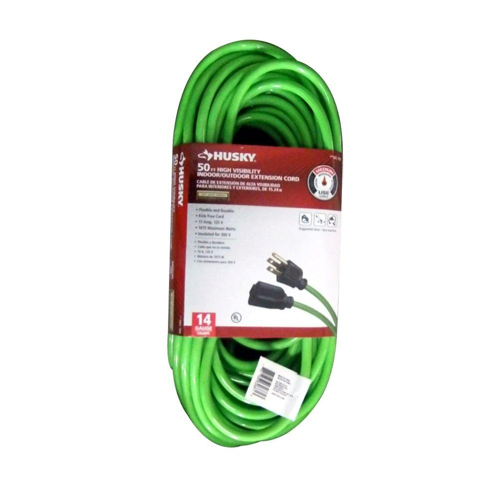 50 ft. 14/3 High Visibility Indoor/Outdoor Extension Cord, Green