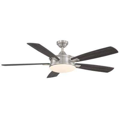 Anselm 54 in. Integrated LED Indoor Brushed Nickel Ceiling Fan with Light Kit and Remote Control