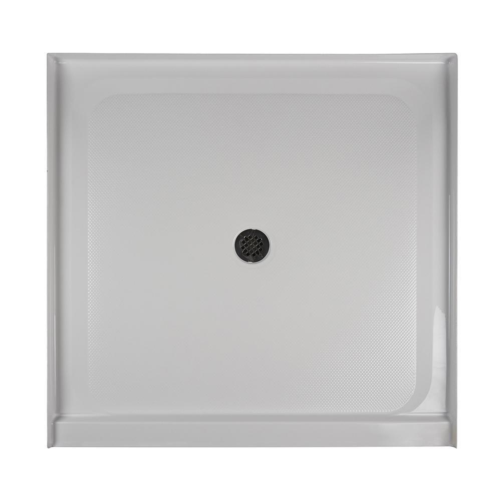 48 in. x 48 in. Center Drain 3.19 in. Shower Base in White