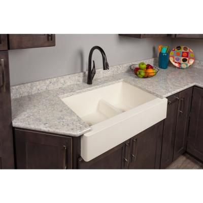 Retrofit Farmhouse/Apron-Front Quartz Composite 34 in. Double Offset Bowl Kitchen Sink in White