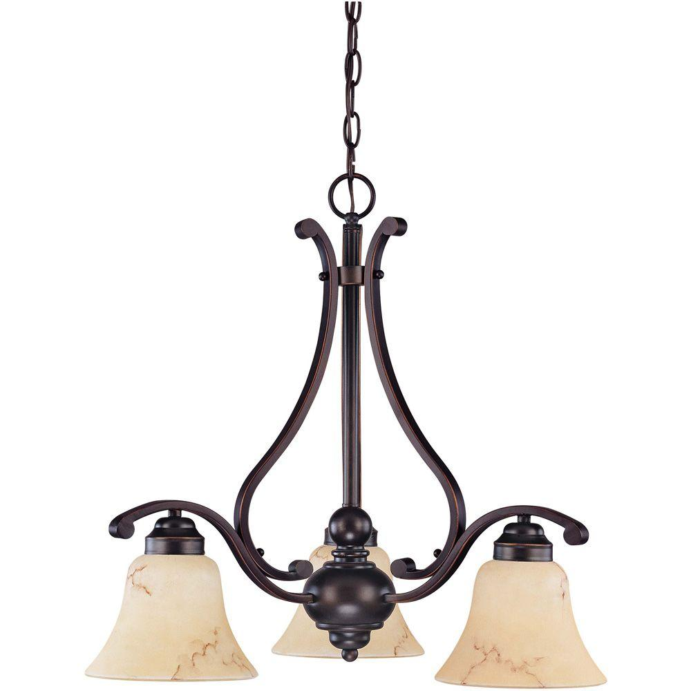 Glomar 3-Light Copper Espresso Chandelier with Honey Marble Glass Shade