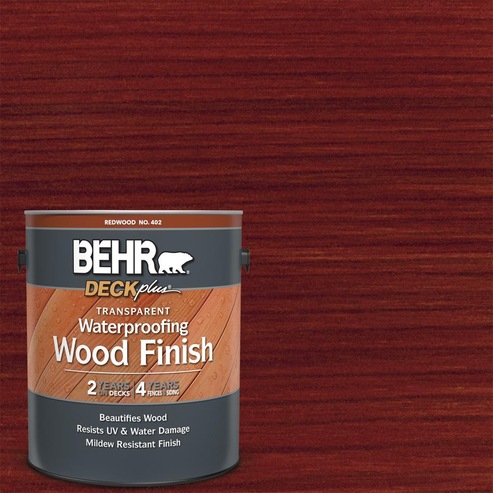 BEHR DECKplus 1 gal. Redwood Transparent Waterproofing Exterior Wood Finish