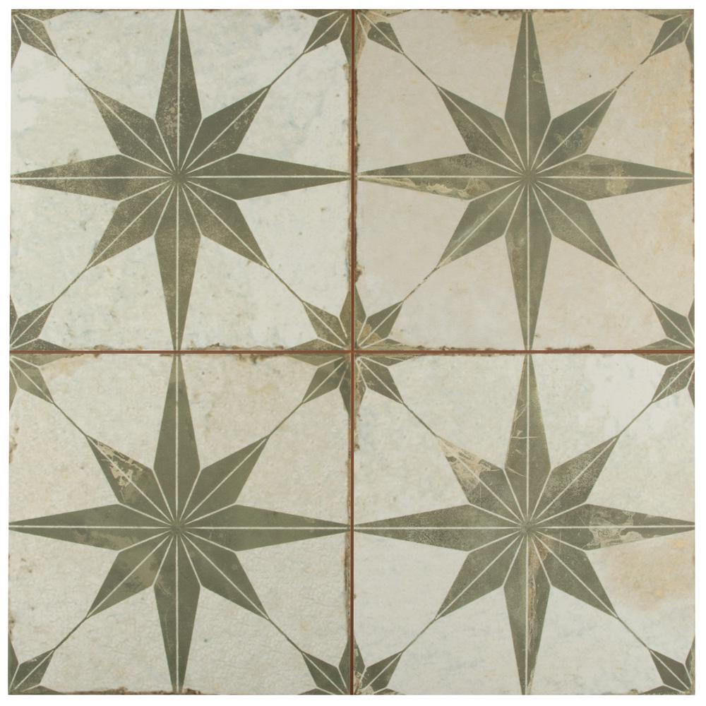 Kings Star Sage Encaustic 17-5/8 in. x 17-5/8 in. Ceramic Floor and Wall Tile (11.02 sq. ft. / case)