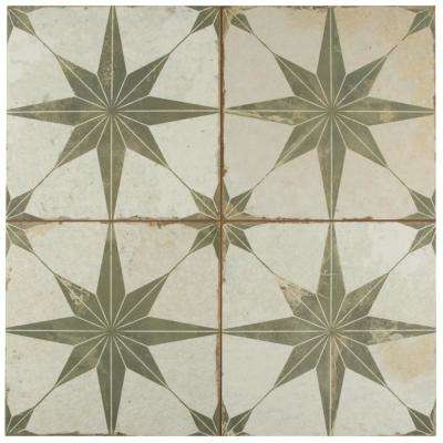 Kings Star Sage Encaustic 17-5/8 in. x 17-5/8 in. Ceramic Floor and Wall Tile (11.02 sq. ft. / case)
