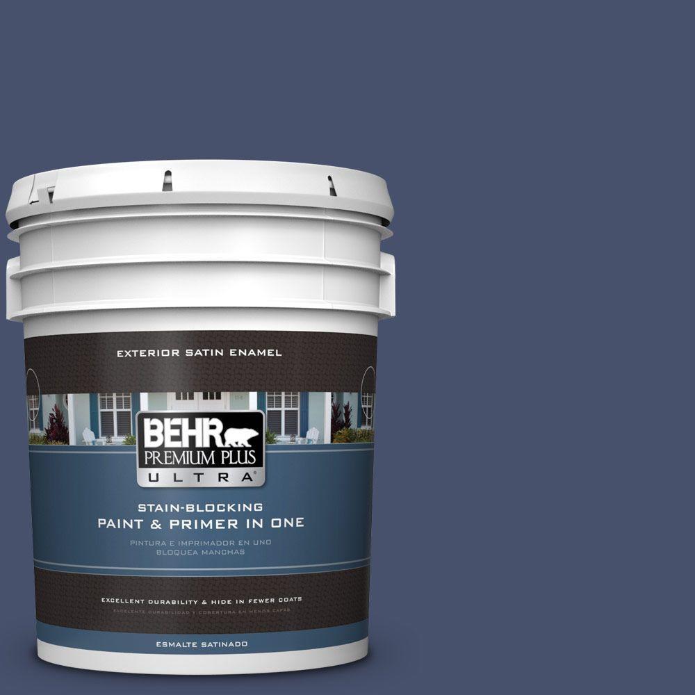 BEHR Premium Plus Ultra 5-gal. #M530-7 Elegant Navy Satin Enamel Exterior Paint