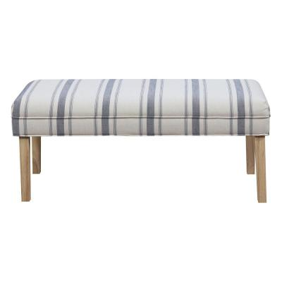 Upholstered Cambridge Blue Stripe Bench